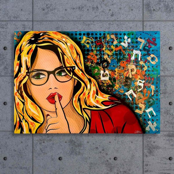 The librarian. pop art mix art acrylic on canvas